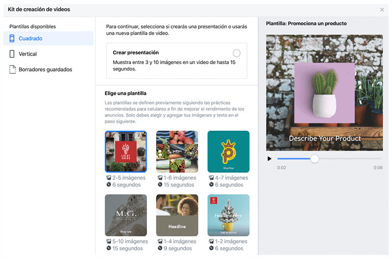 Kit facebook creacion de videos publicidad en Instagram